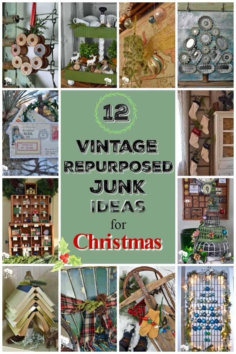 12 Vintage Repurposed Junk Ideas for Christmas