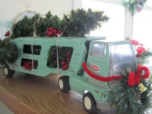 Vintage Toy Trucks decorated for Christmas