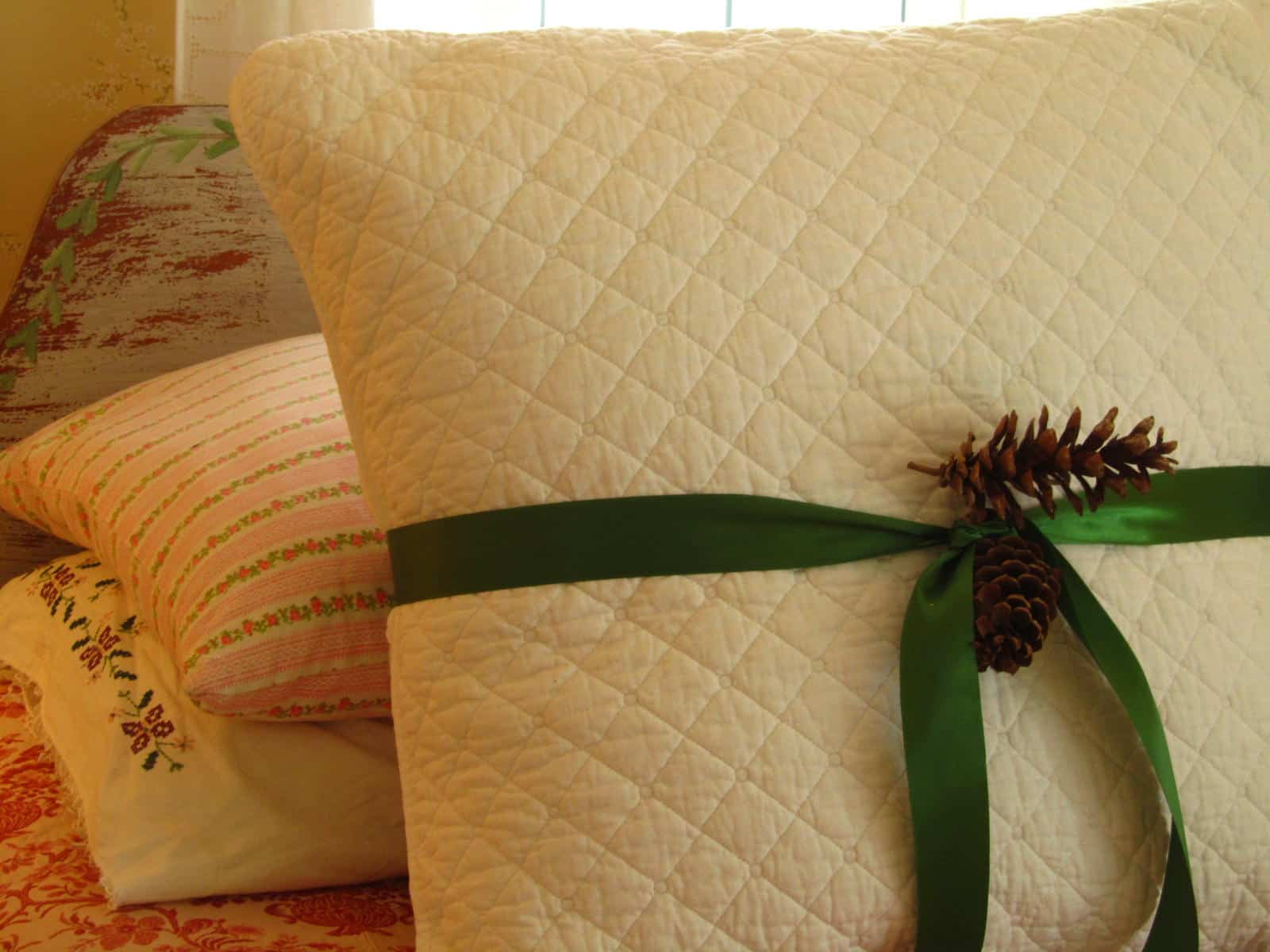 Pillow decorated as gift