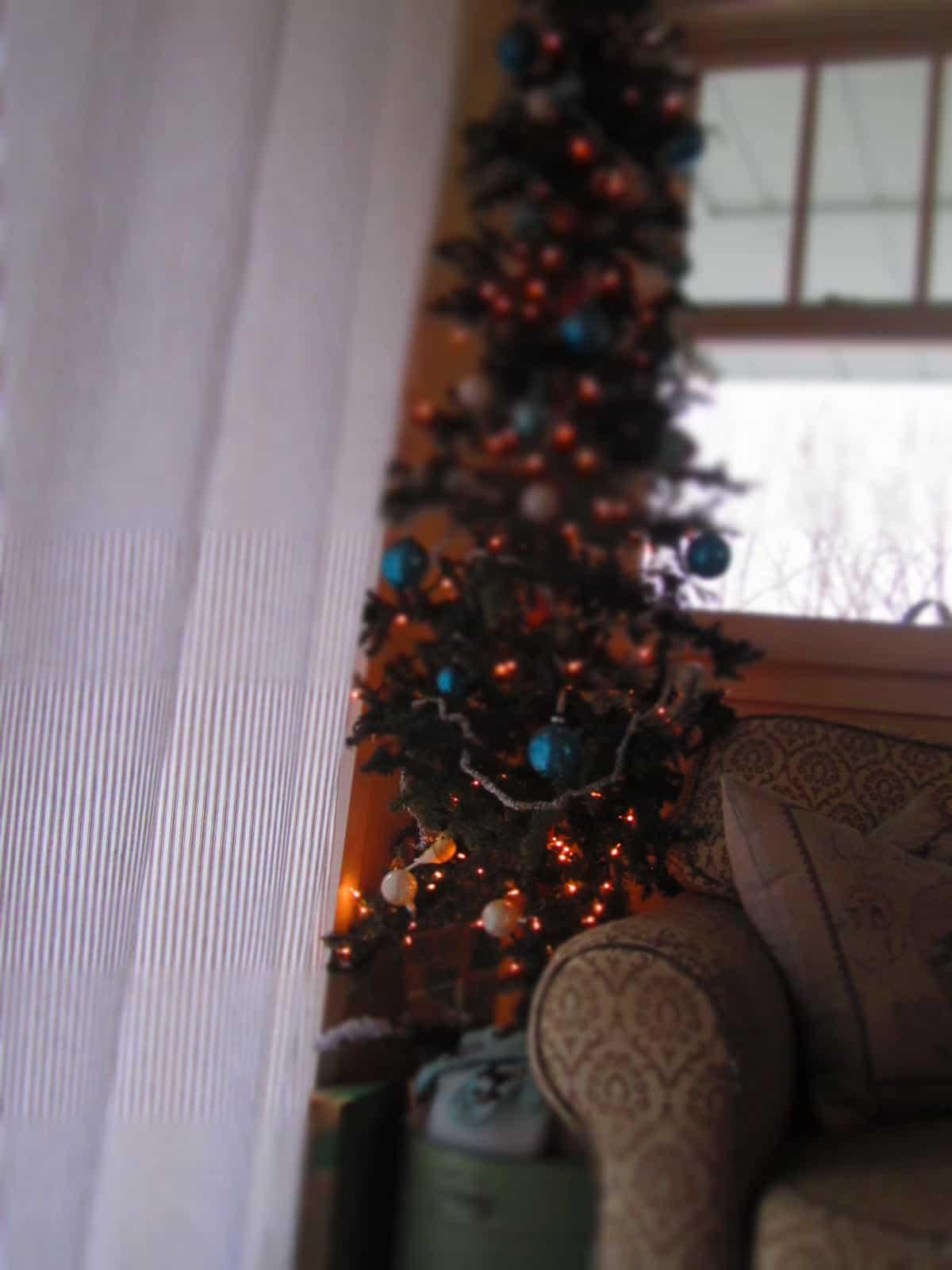 Shiny Brite ornaments on tree