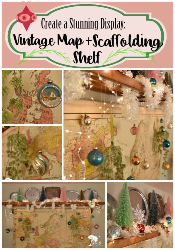 Display your Shiny Brite ornaments in front of a vintage wall map