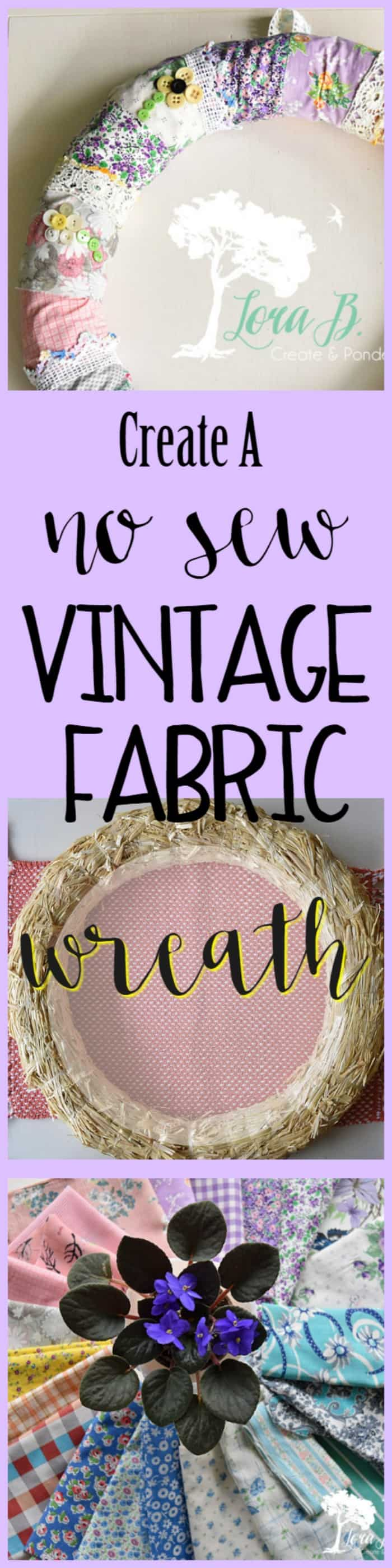 Create a no sew Vintage Fabric Wreath