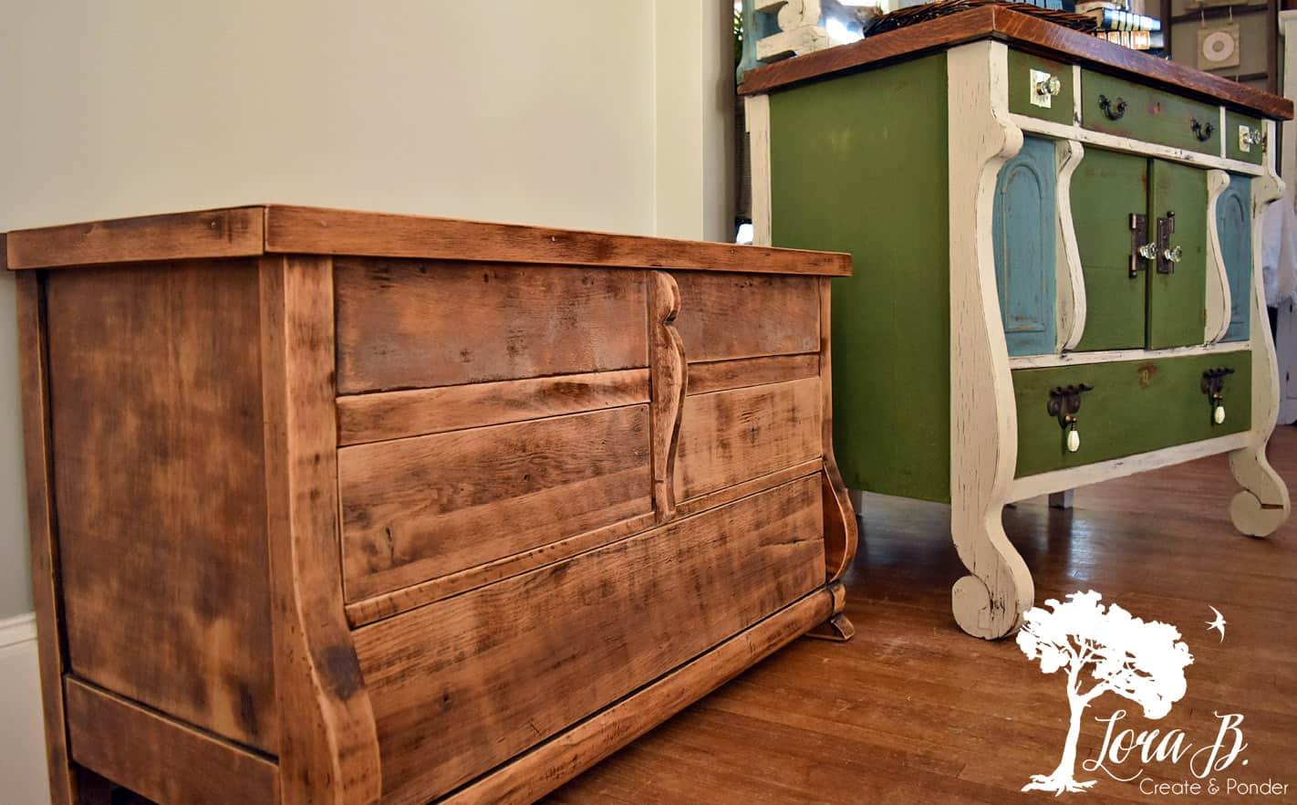 Empire details on vintage furniture.