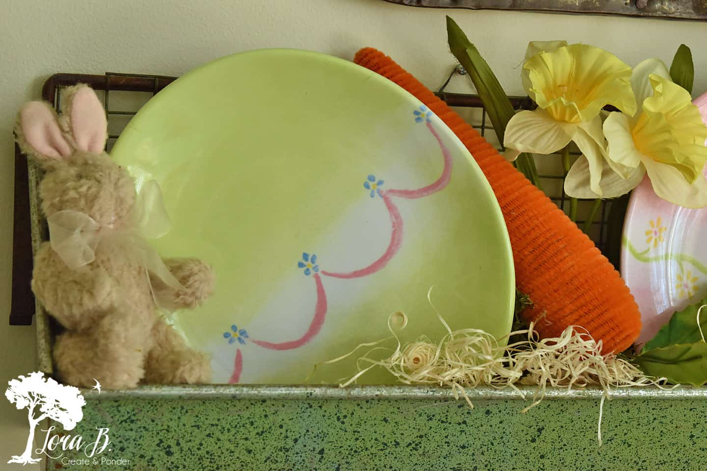 Plastic egg shape plates displayed in a vintage chicken feeder.