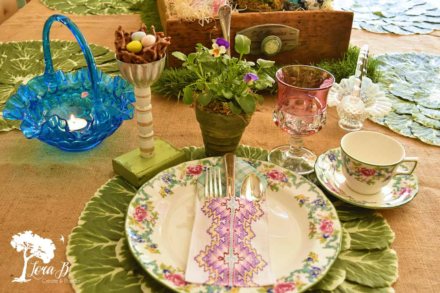 Colorful springtime table setting.