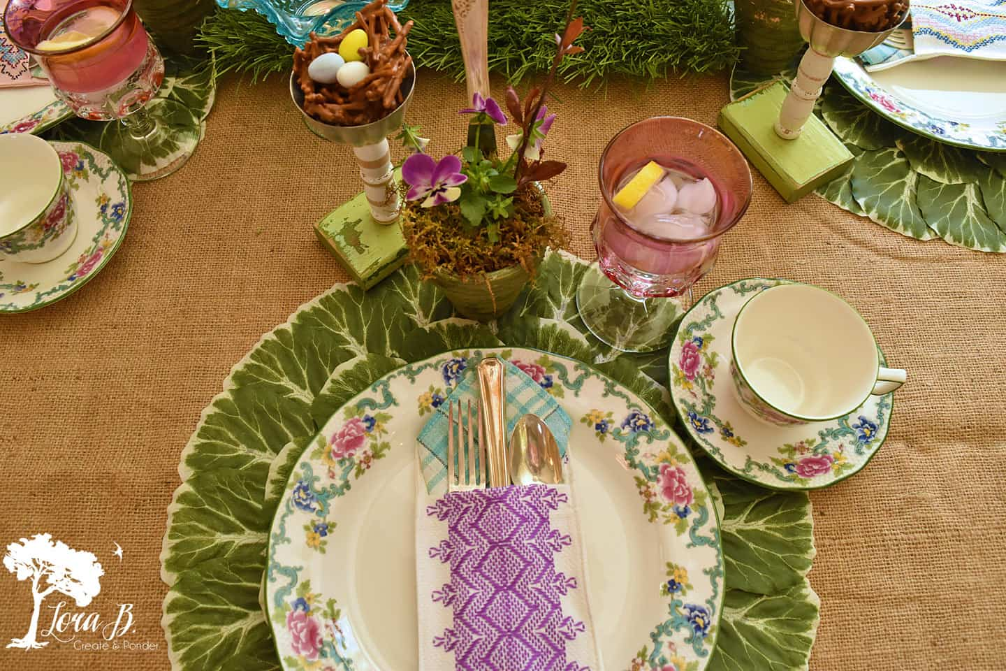 Springtime table setting featuring vintage elements