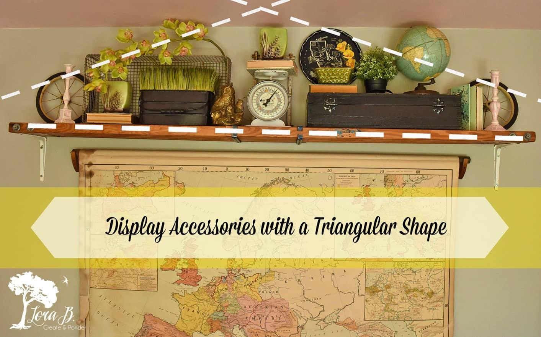 Vintage accessories displayed on shelf.
