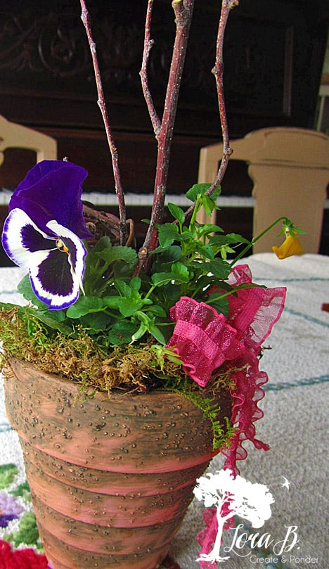 Pansy Pot with sticks