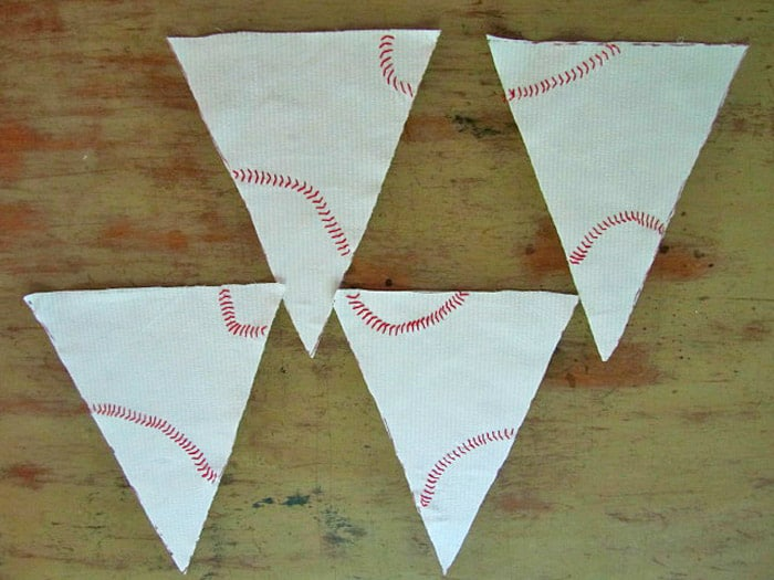 Baseball stitching on triangles