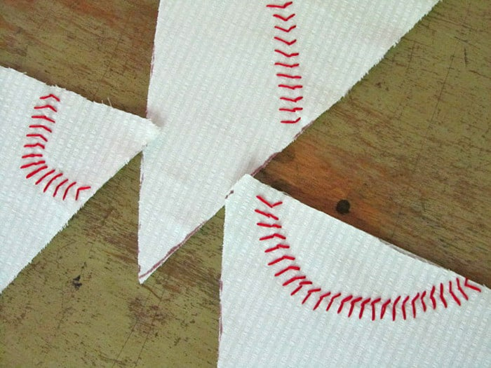 Red baseball themed stitching.