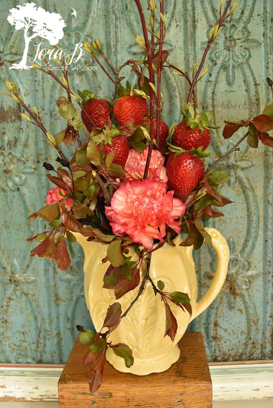 strawberry red floral arrangement