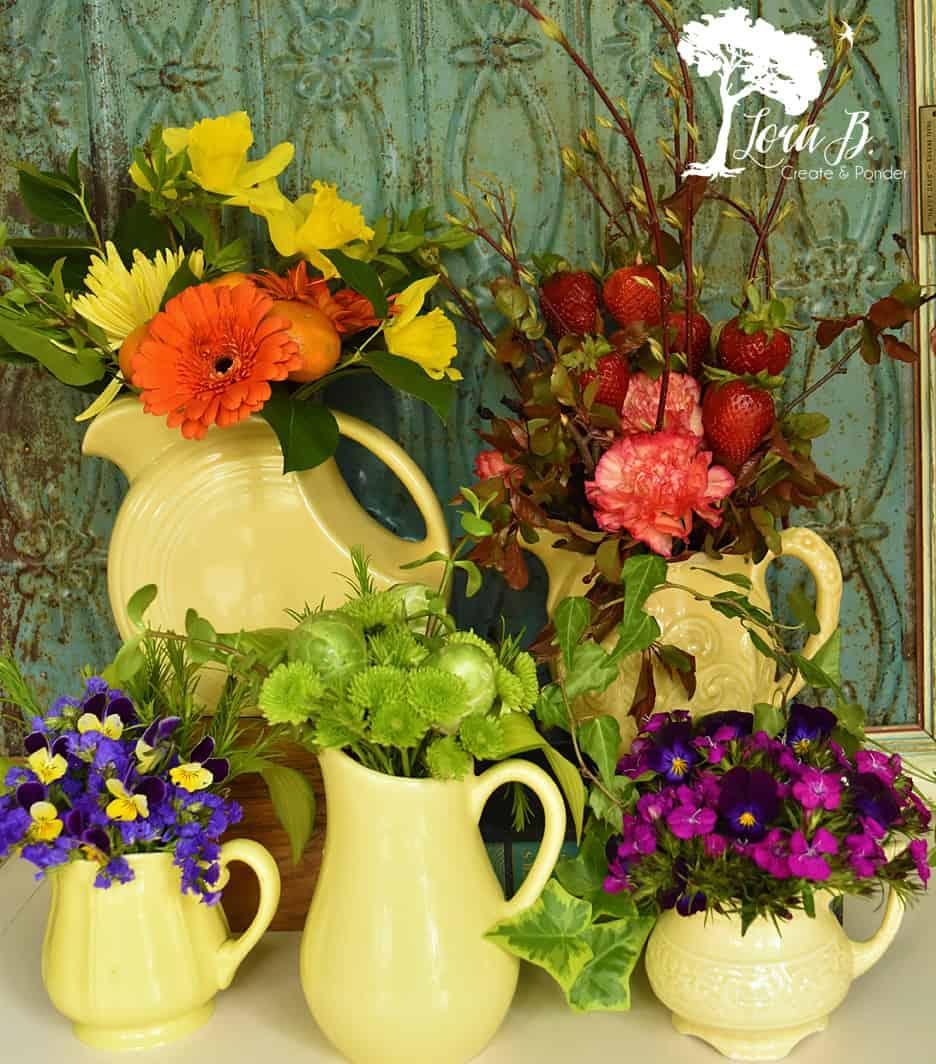 Five arrangements from one big box bouquet