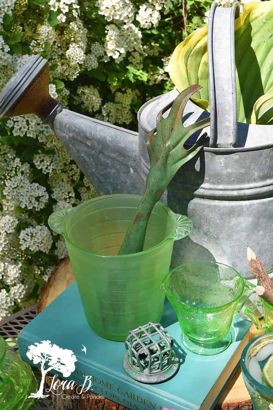 Vintage watering can and garden elements.