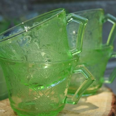 Garden Party with Green Depression Glass and Vintage Junk