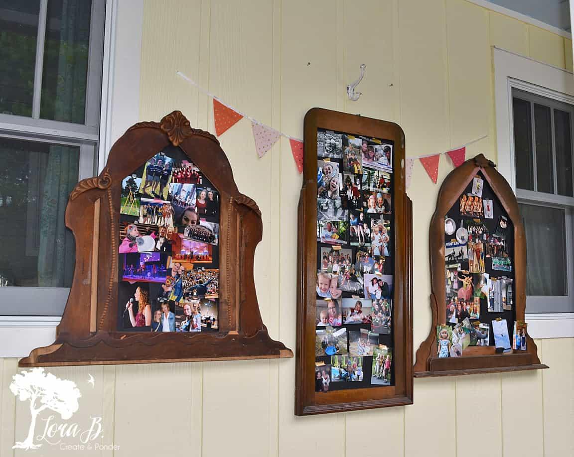 Vintage dresser mirrors as photo displays