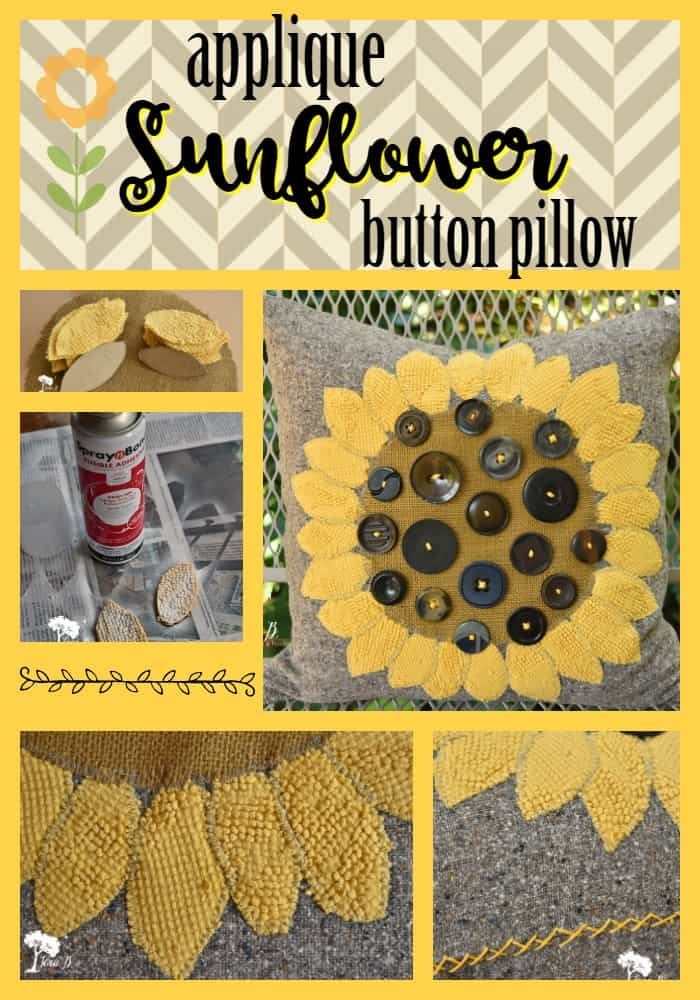 Sunflower Button Pillow