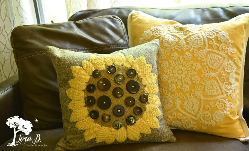 sunflower button pillow how-to