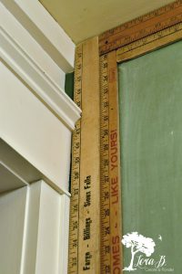 Rulers become a frame for a chalkboard wall.