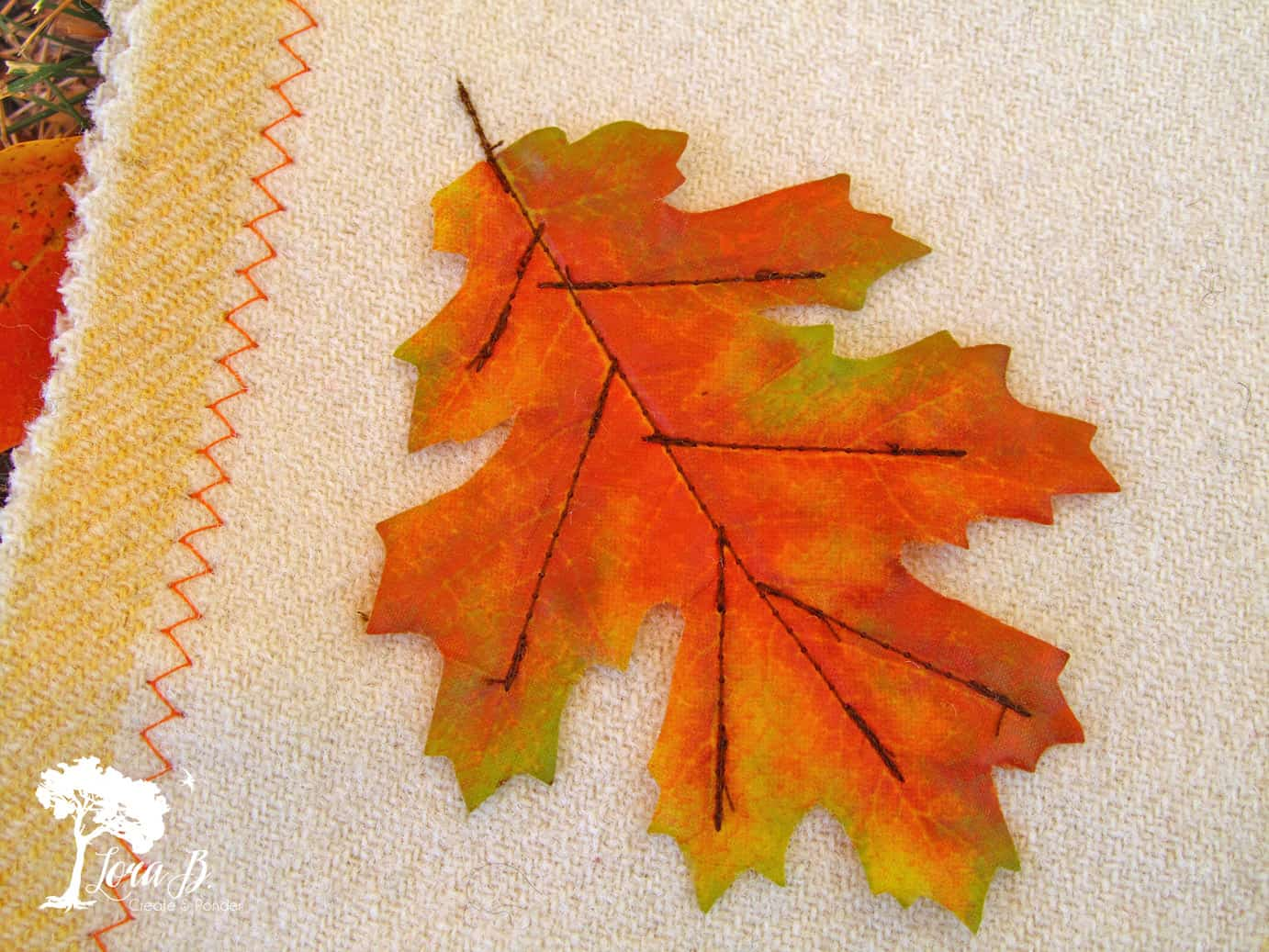 Fall Leaf sewn to fabric