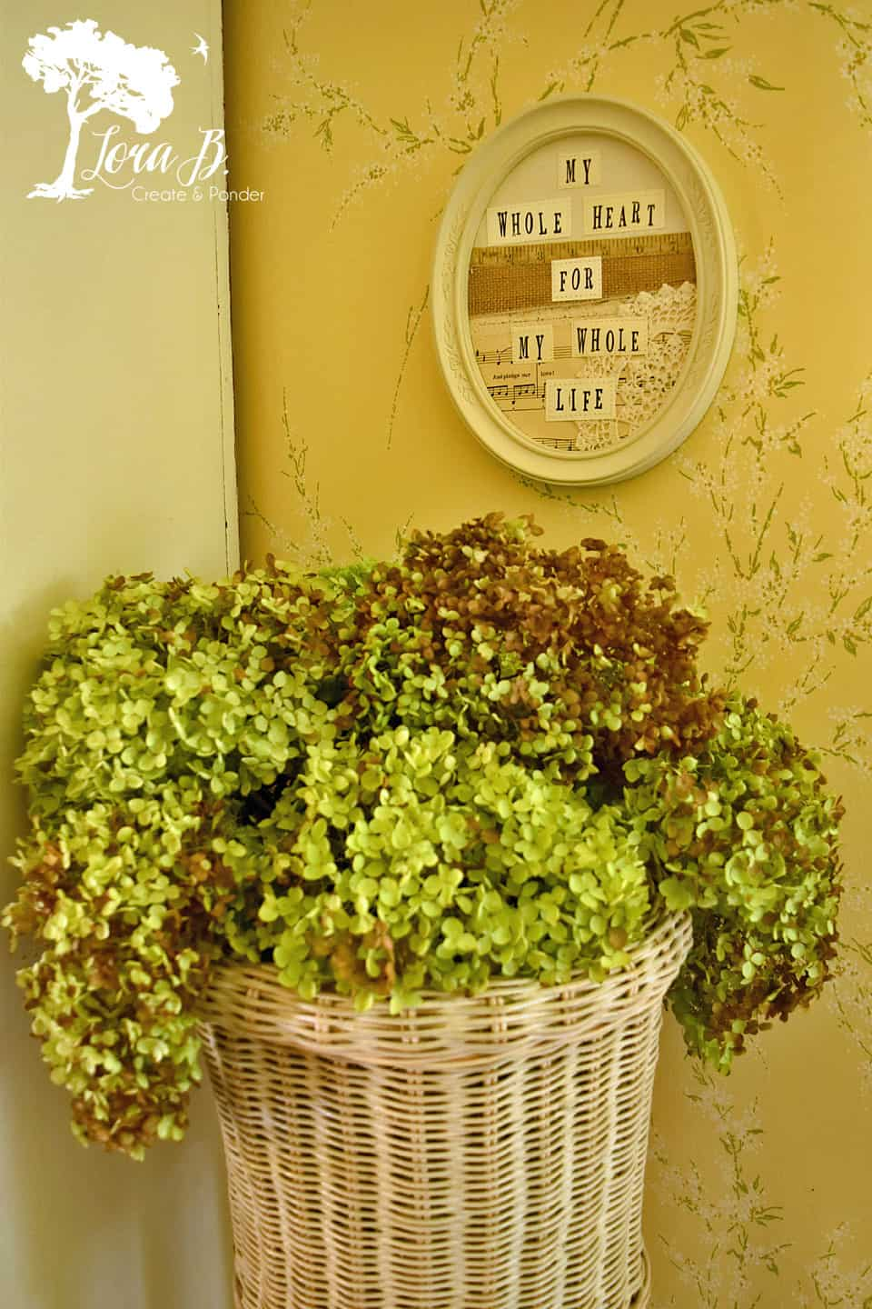 Dried green hydrangeas