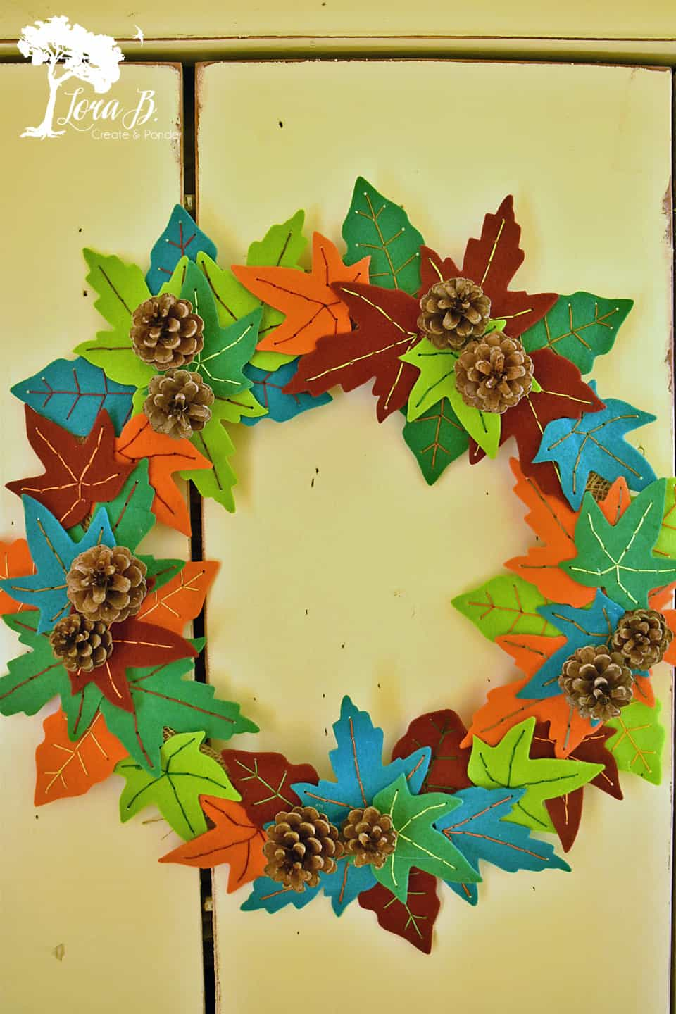 Felt wreath made from cut out leaves.