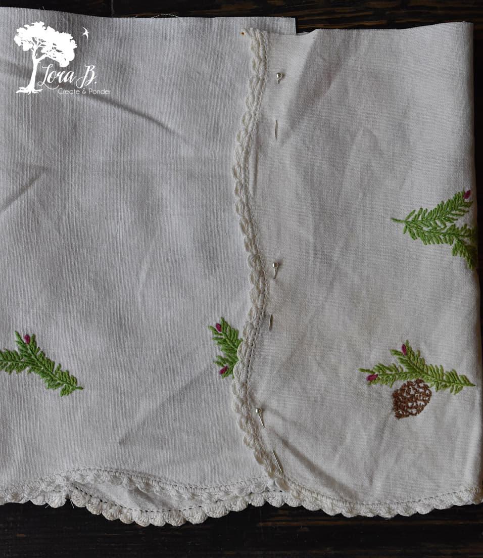 Flat seamed vintage linen.