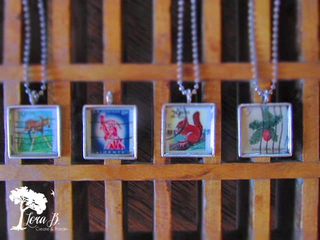 Vintage Stamp Necklaces
