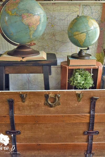 Globes in an antique trunk