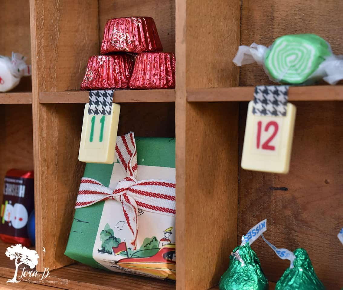 Advent Calendar created from divided drawers.