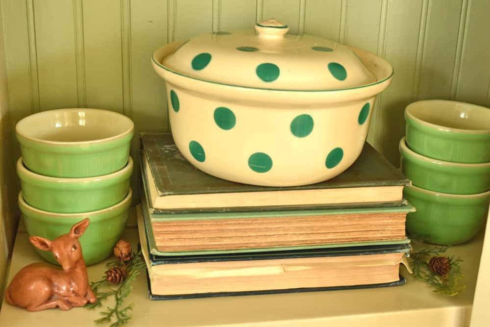 Antique green polka-dot casserole