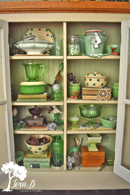 Green vintage accessories.