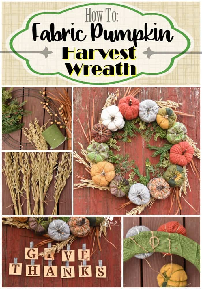 Fabric Pumpkin Harvest Wreath Pin