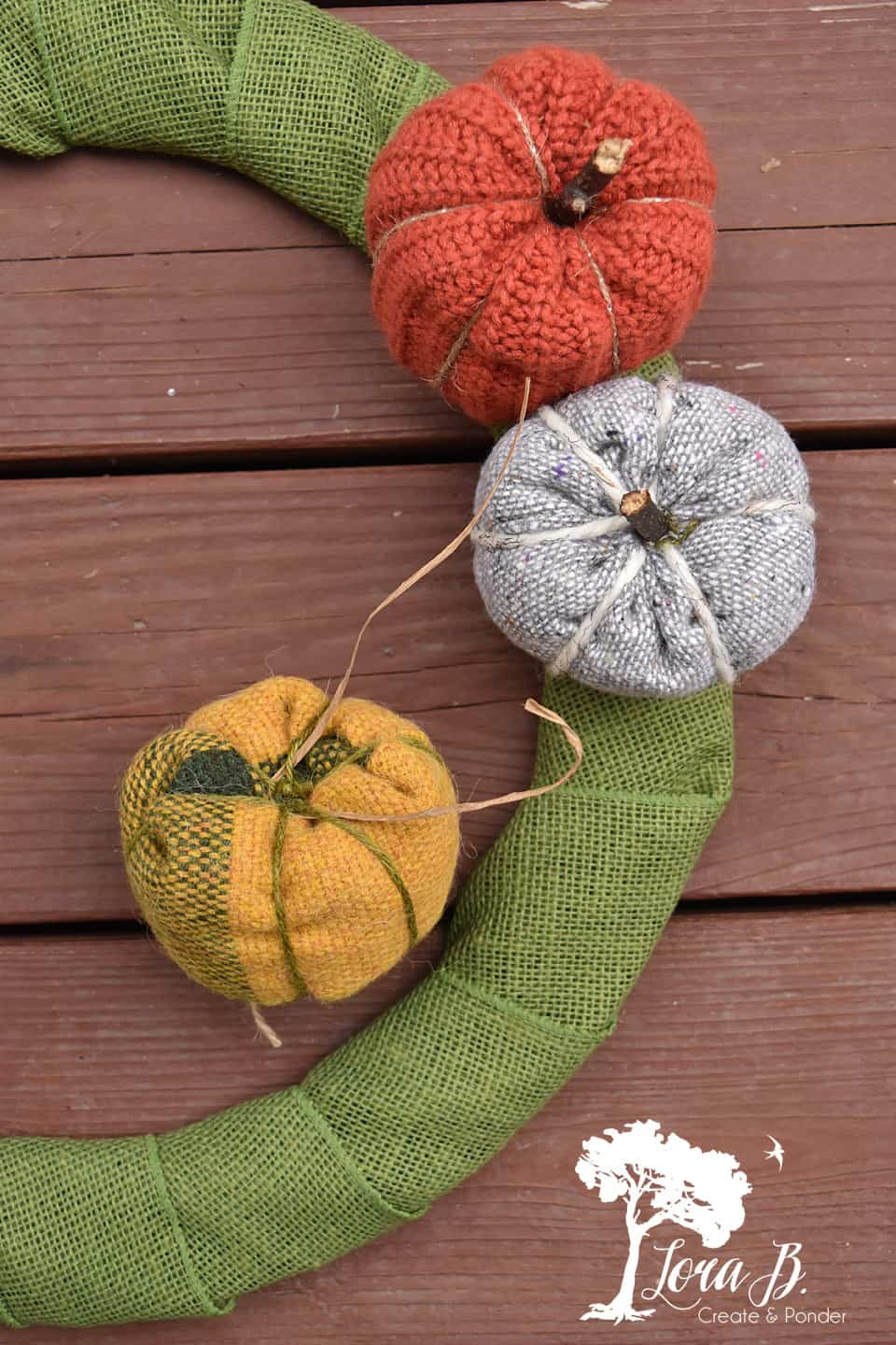 Fabric Pumpkin Harvest Wreath