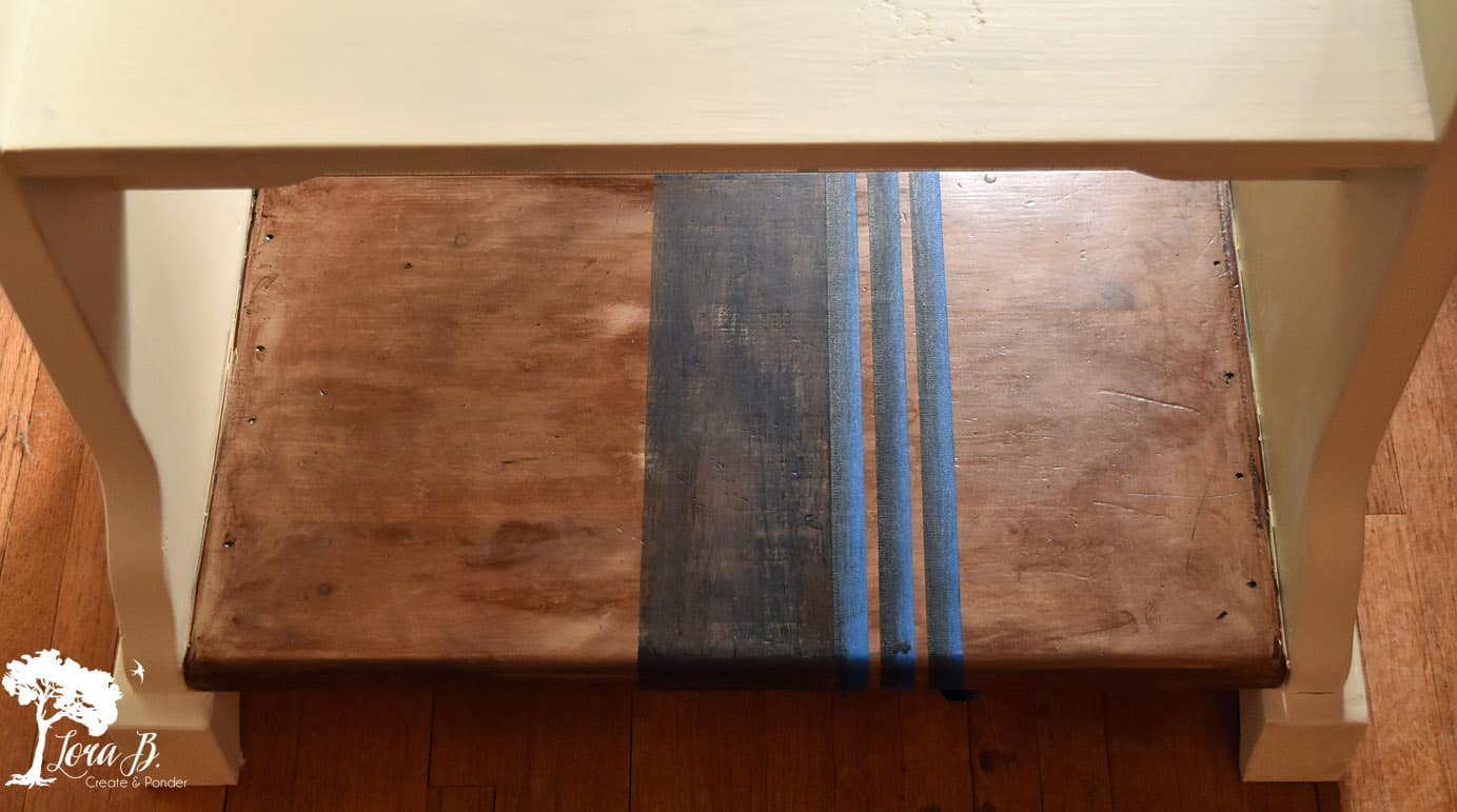 Add grainsack stripes to an old table