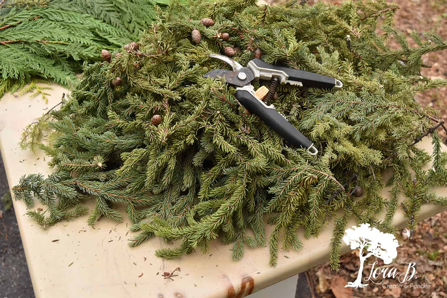 Spruce Tips scraps can be used for more decoration.