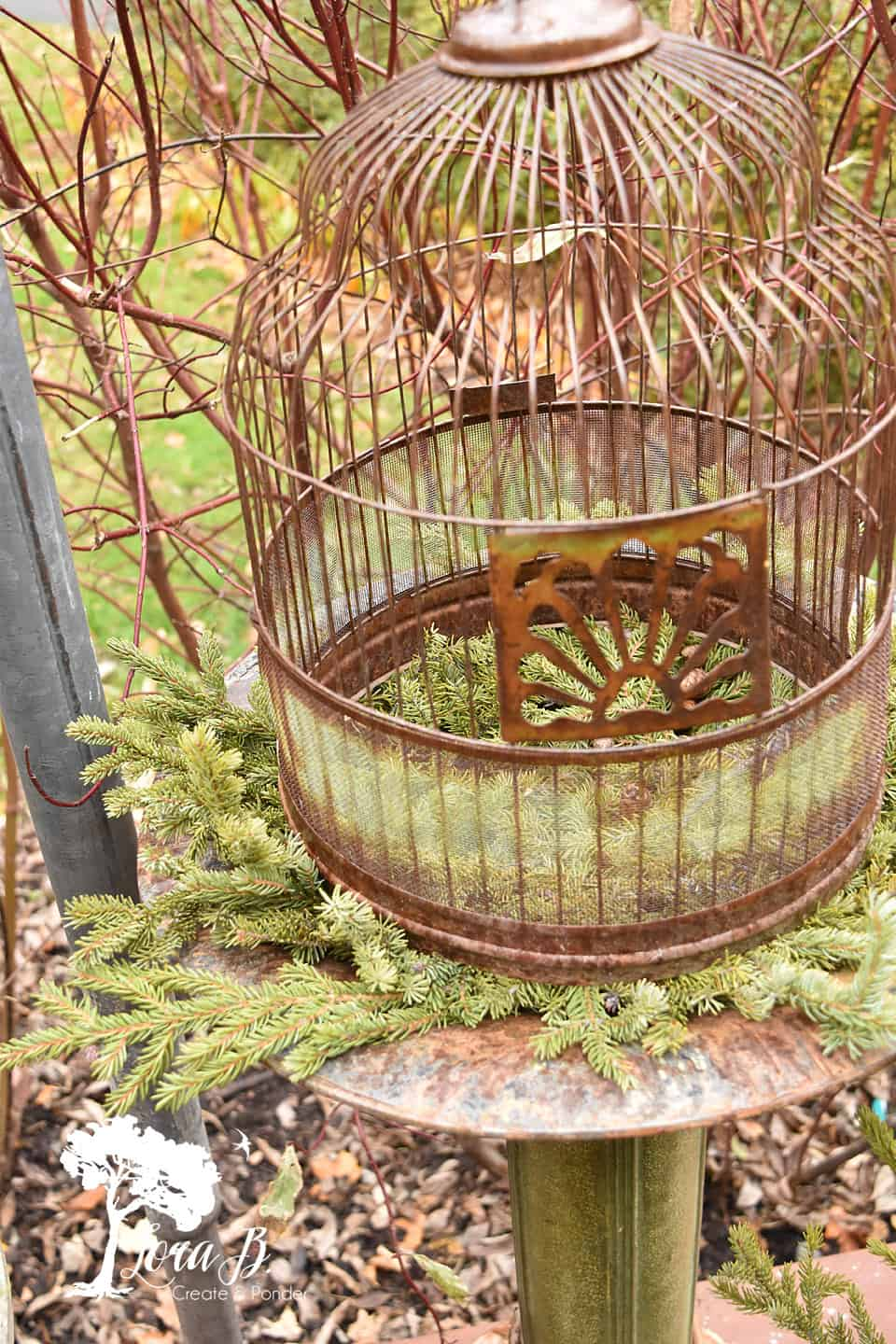 Add extra greens to the base of a bird bath.