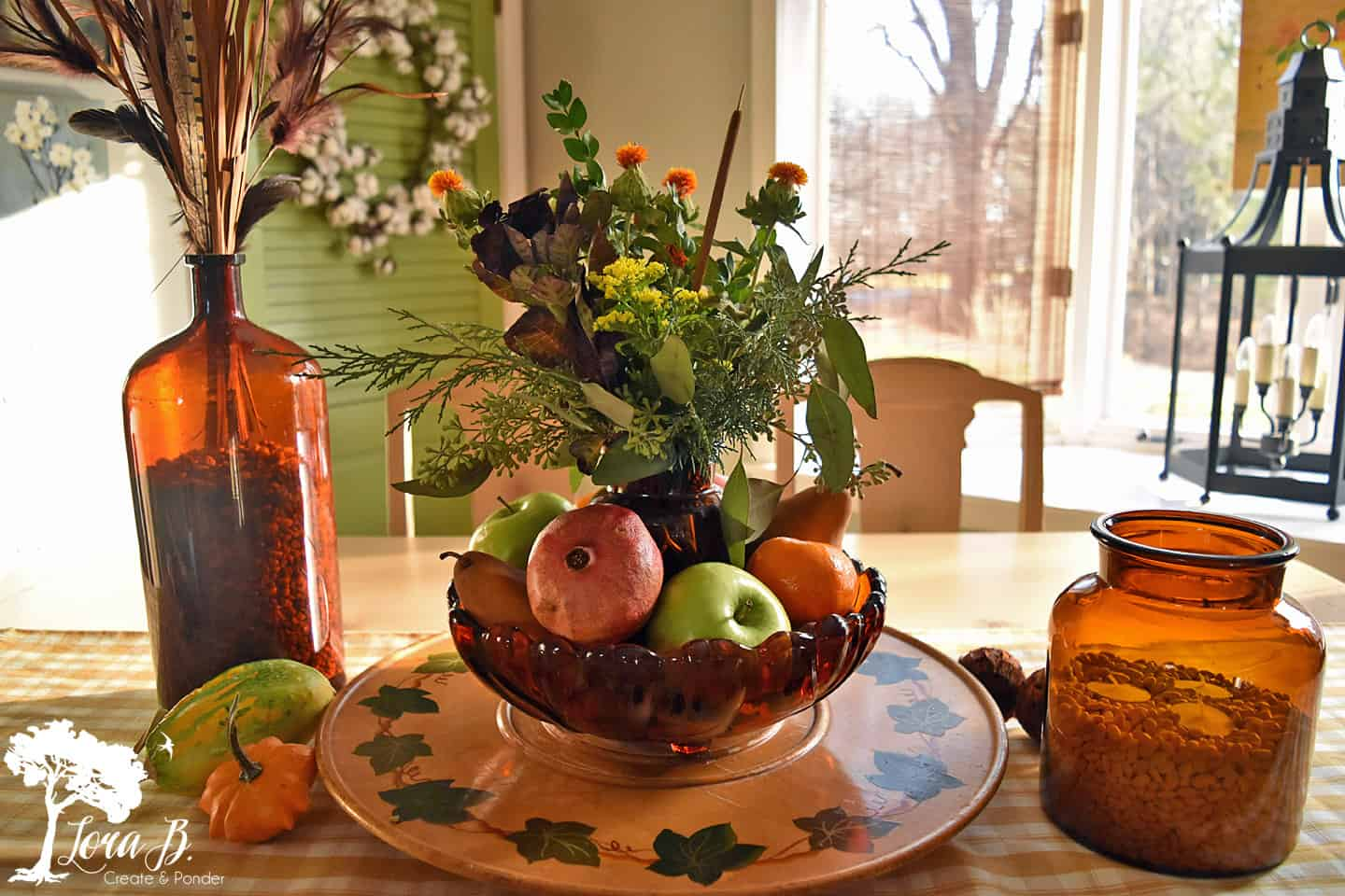 Fruit as a Thanksgiving centerpiece.