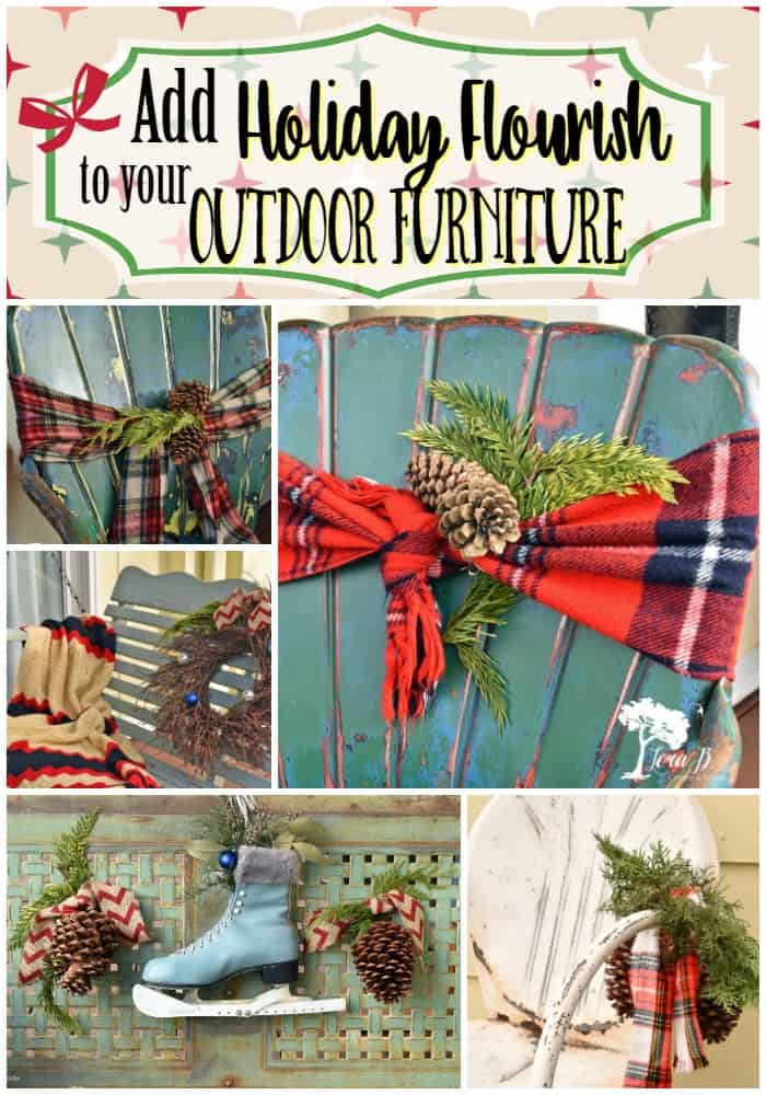 Outdoor Furniture, decorated for the Holidays