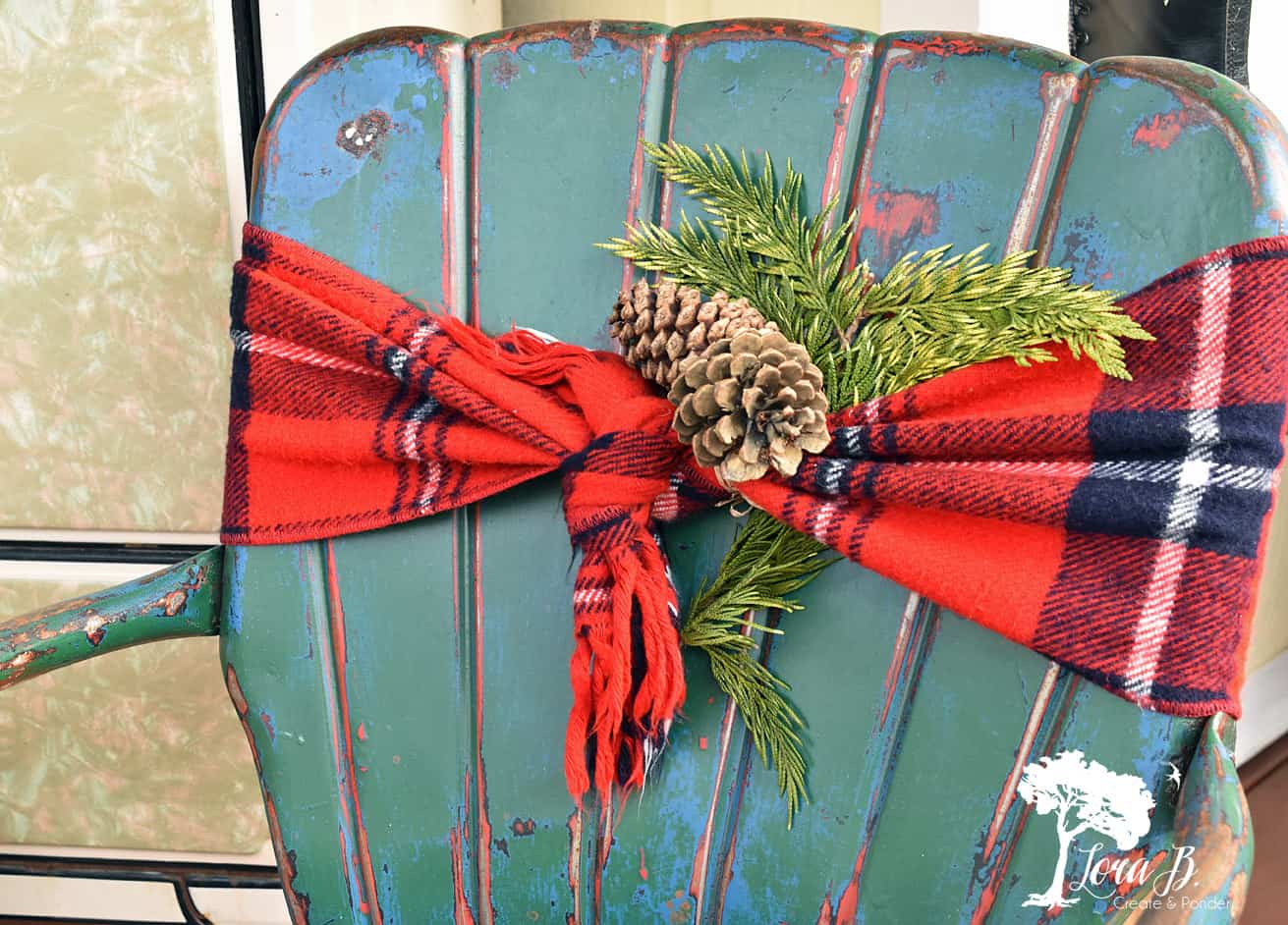 Vintage metal chair, decorated for the holidays