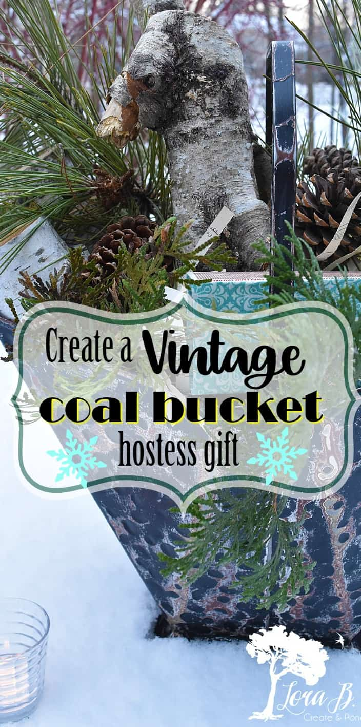 Vintage coal bucket hostess gift.