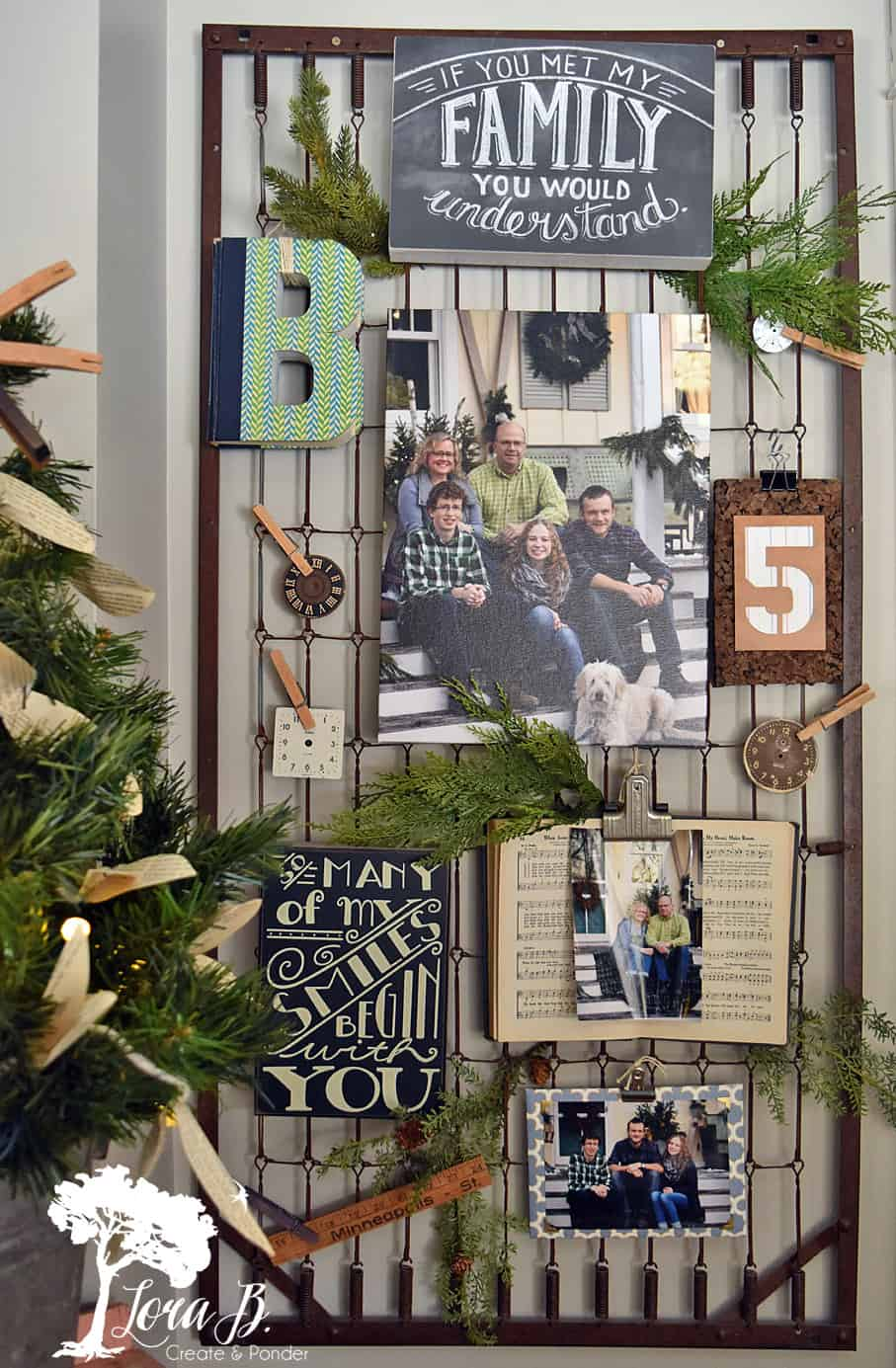 Family photo wall on a bedspring
