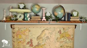 Globes on shelf