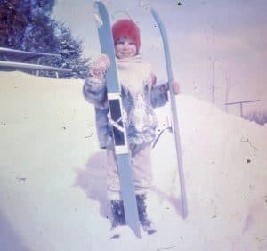 1970's era child skiing