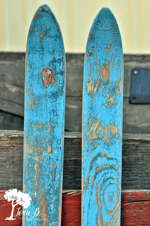 Vintage Blue Skis