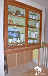 Old glass cupboard built in