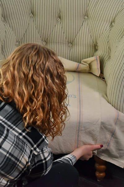 Adding Vintage Feedsacks to New Furniture Seats