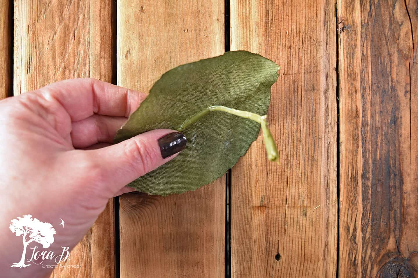 Peel ribbing off fake leaf.