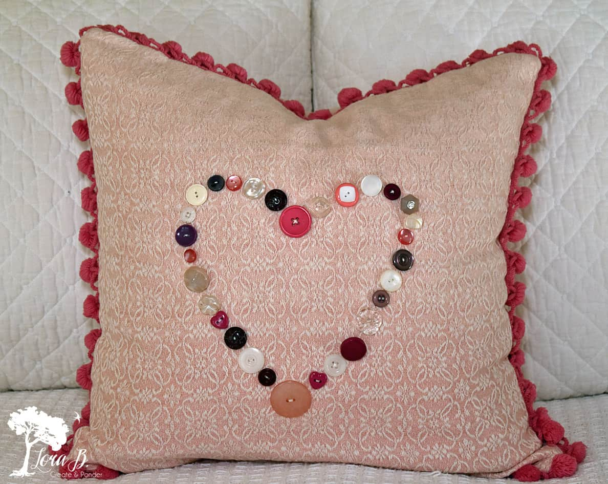 Vintage Button Valentine Pillow