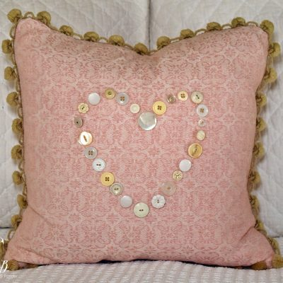 Vintage Button Heart Pillow
