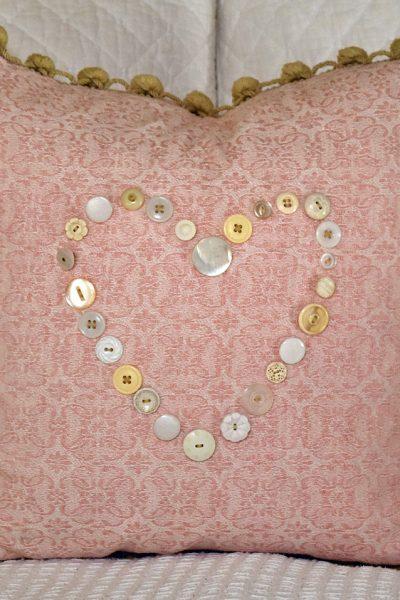Vintage Button Heart Pillow